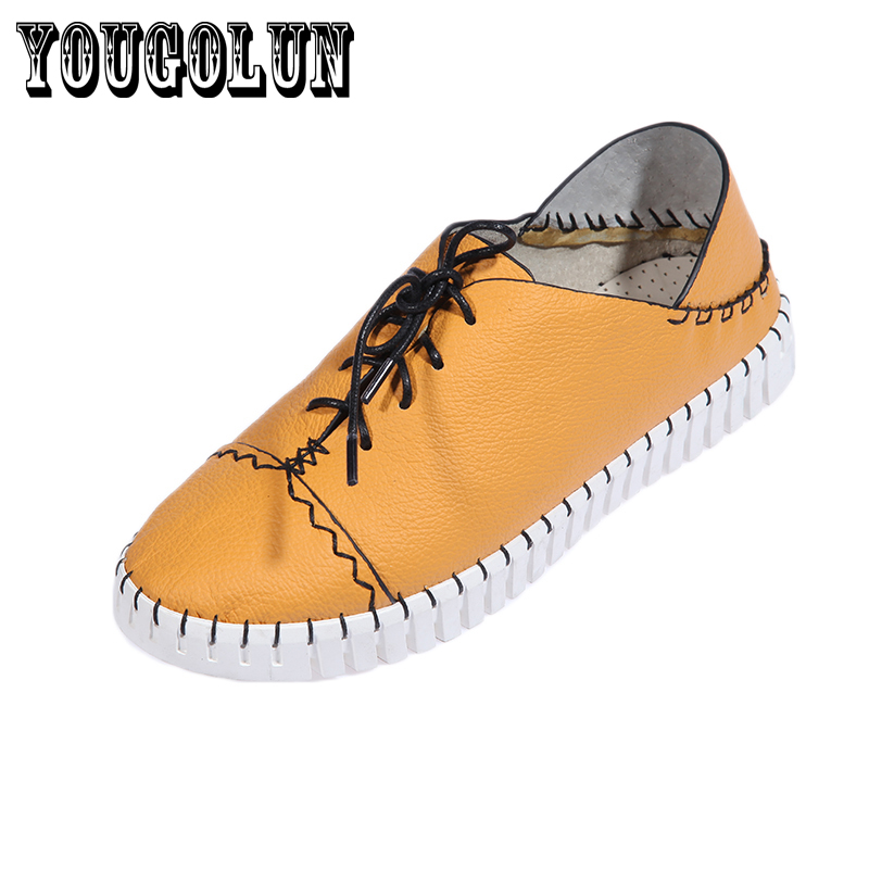 Genuine leather white yellow orange round toe flat women shoes,2015 Spring style casual Manual Sewing Flats woman shoes Loafers<br><br>Aliexpress