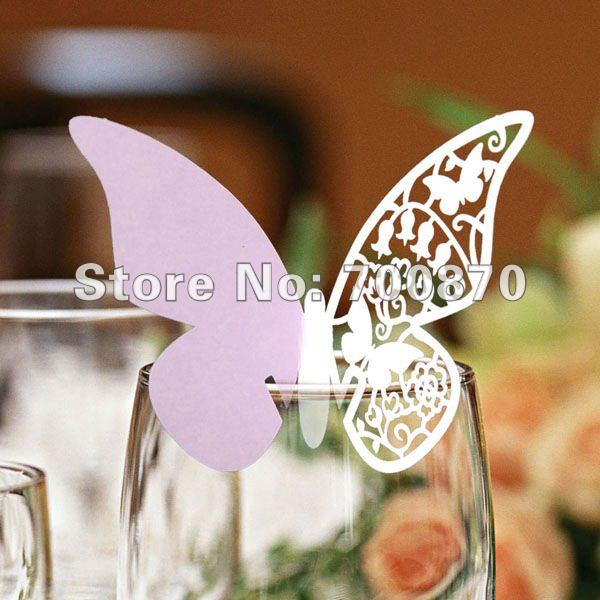 EC1108-08 12pcs/pack Laser Cutting Butterfly Place Card( Matt paper in light purple )(China (Mainland))