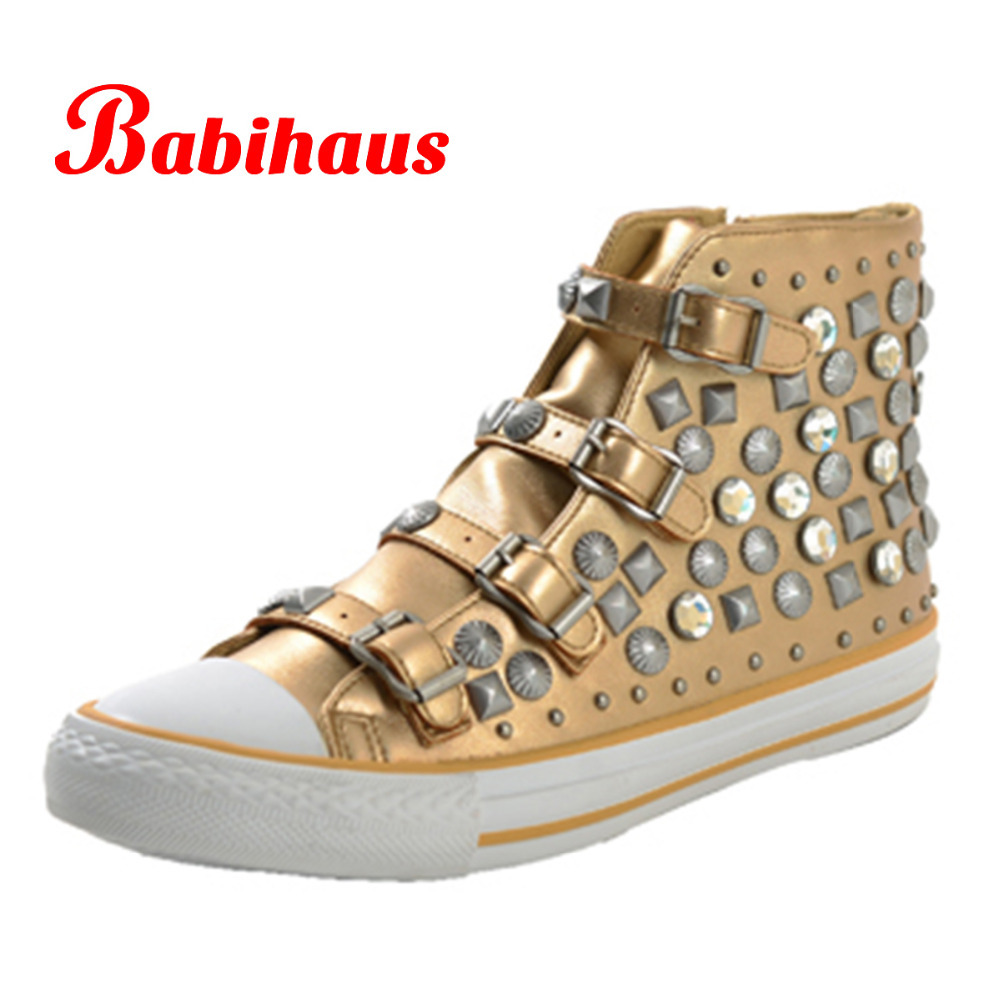 2015 New Women Designer Rivet High Top Flat Shoes Lady Punk Style Leather Buckle Shoes Female ...