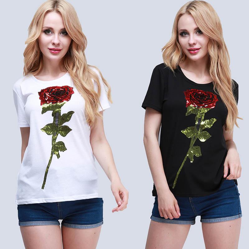 Camiseta Feminina 3D Rose Flower t shirt Women Sequined t-shirt Summer Casual Fashion Tees Tops Women Clothing Mujer HO869184(China (Mainland))