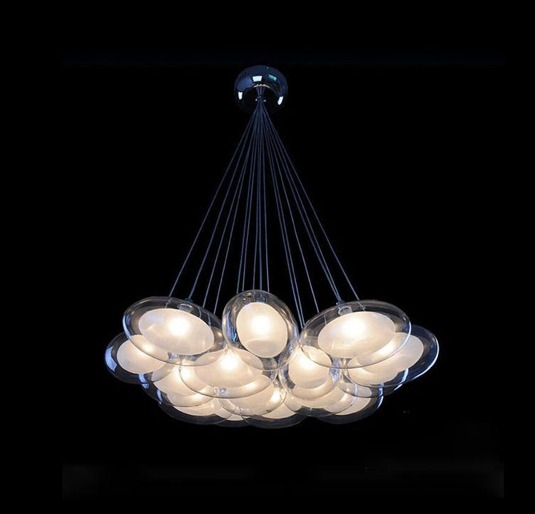 Free Shipping Modern Egg Glass Chandeliers Light with 15 G4 Led Bulbs Dinning Study Living Room Parlor Room(China (Mainland))