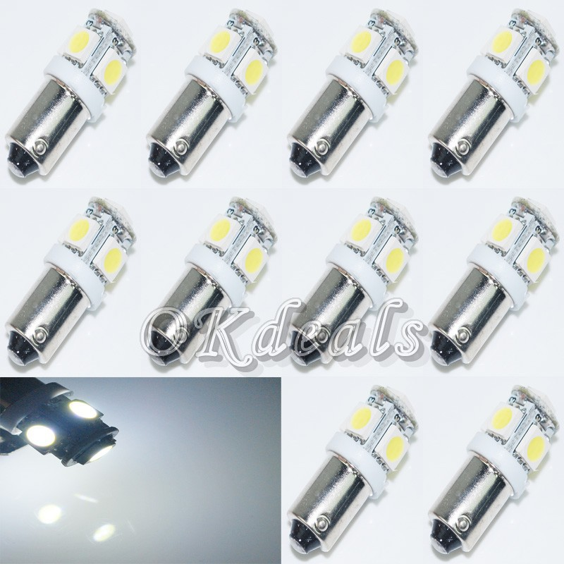 10PCS T11 BA9S T4W 363 Cold White/Red/Green/Yellow/Pink 5 LED car 5050 SMD Car- Styling Wedge Side Light Lamp Bulb 12V led car(China (Mainland))