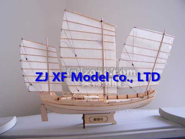 SC 1:148 Laser-cut wooden sail ship model: Ancient Chinese Sailboat Green Eyebrows of Zheng he's armada Free Brass cannon 1 set(China (Mainland))