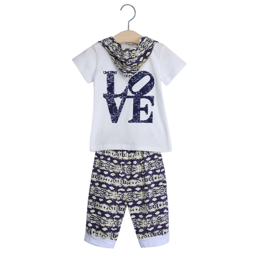 Fashion Kids Brand Clothing Set Soft Cotton Children Love Letter Printed T-shirt Pants With Coverchief Short Sleeve Clothing Set(China (Mainland))