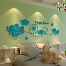 Small aircraft pilots acrylic wall stickers cartoon children's room decor baby 3d perspective Bedroom Walls decals - Xin Show Paper Article store