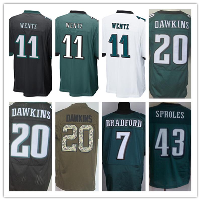 2016 Draft Pick #11 Carson Wentz Jersey Green Black White Elite Wentz Sports Shirts Best Quality Stitched Jersey Size M-XXXL(China (Mainland))