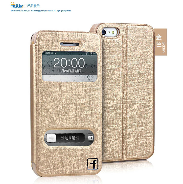 Leather Wallet Stand Design Case iPhone 5 5S 5G Mobile Phone Bag iPhone5 5g 5s 2 view windown - Shenzhen Top Electronic Store store
