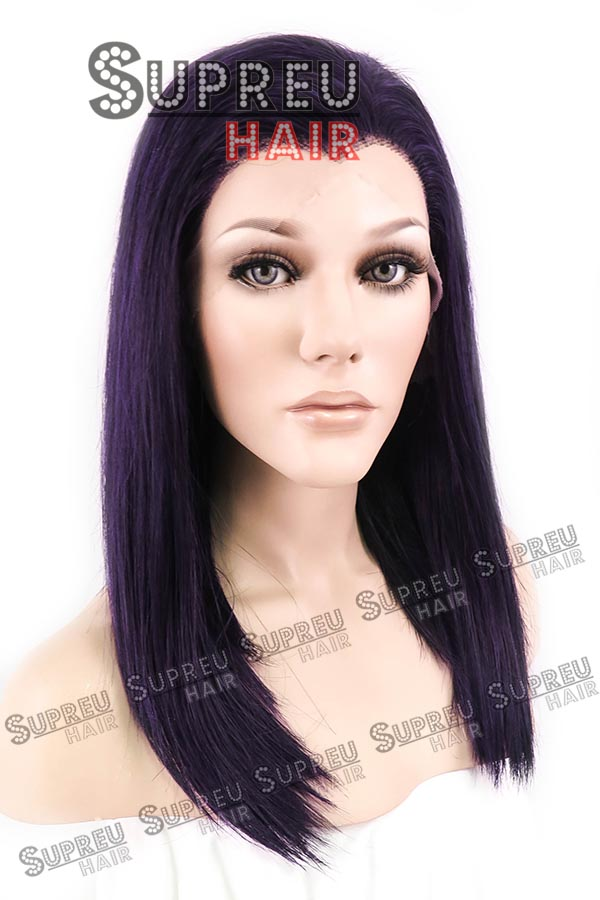 16 Medium Straight Dark Purple Customizable Lace Front Synthetic Hair Wig Heat Resistant 10111<br><br>Aliexpress