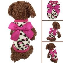 Pink color Pet Dog Puppy Cat Winter Leopard Clothes Cute T-Shirt Soft Warm Coat(China (Mainland))