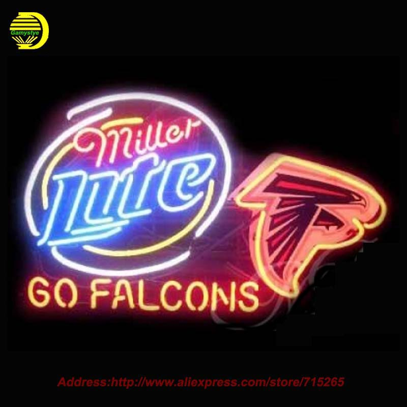 Miller Lite Atlanta Falcons NEON SIGN Neon Bulb Handcrafted Recreation Room Glass Tube Neon Sign for Beer Lighted Led 360 31x24(China (Mainland))