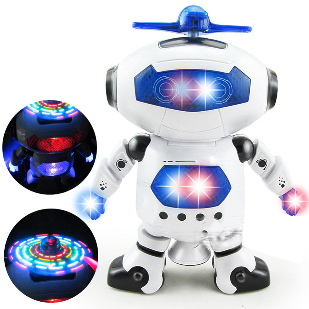 360 Rotating Space Dancing Robot Musical Walk Lighten Electronic Toy Robot Christmas Birthday Gift Toy For Child(China (Mainland))