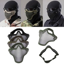 Half Lower Face Metal Steel Net Mesh Hunting Tactical Protective Airsoft Mask Gofuly free shipping(China (Mainland))