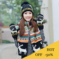 Hat and Scarf Children's Cap + gloves Hat Winter Cartoon Minions  hats and scarves Winter Warm Knitted hat scarf set for kids
