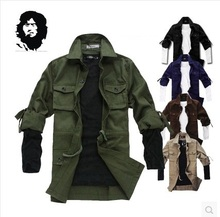 Spring thin paragraph personality tooling clothing slim jacket Army Green tooling clothing outerwear(China (Mainland))