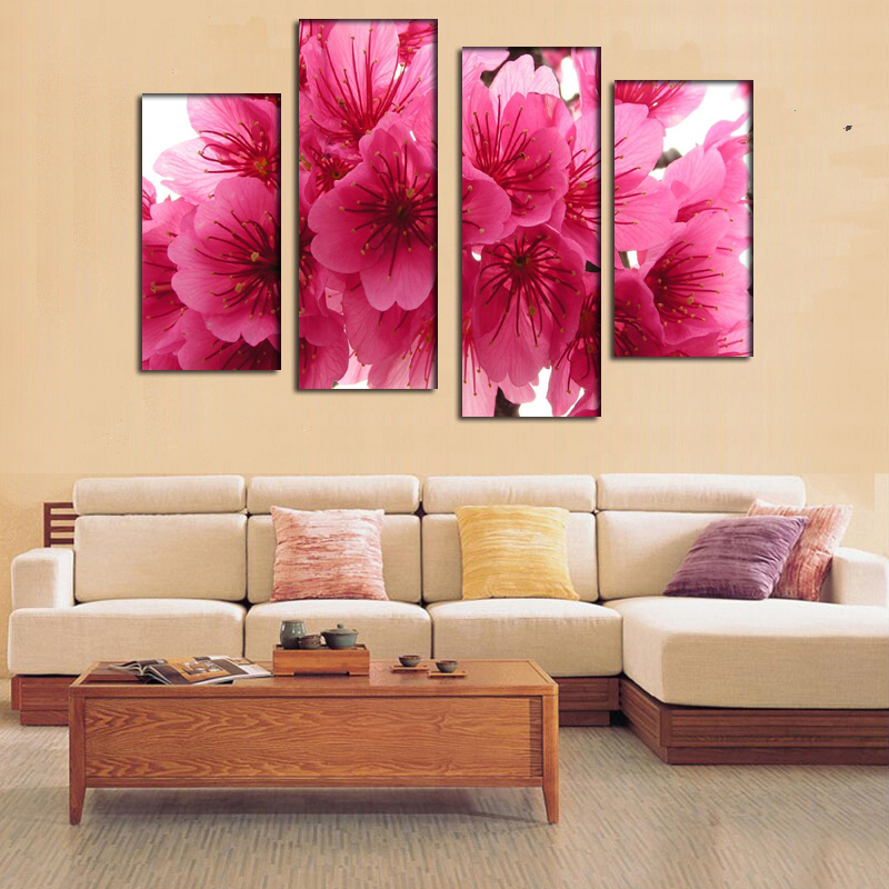 2016 New 5 Panel cherry blossom pink branch close oil painting home Wall Art Picture Unframed gift - Idea & Paintings Factory store