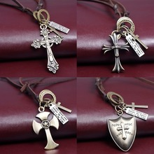 Religious Genuine Leather Necklaces Pendant Zinc Alloy Cross/Shield Shape Pendant Necklace Vintage Personality Jewelry 2016