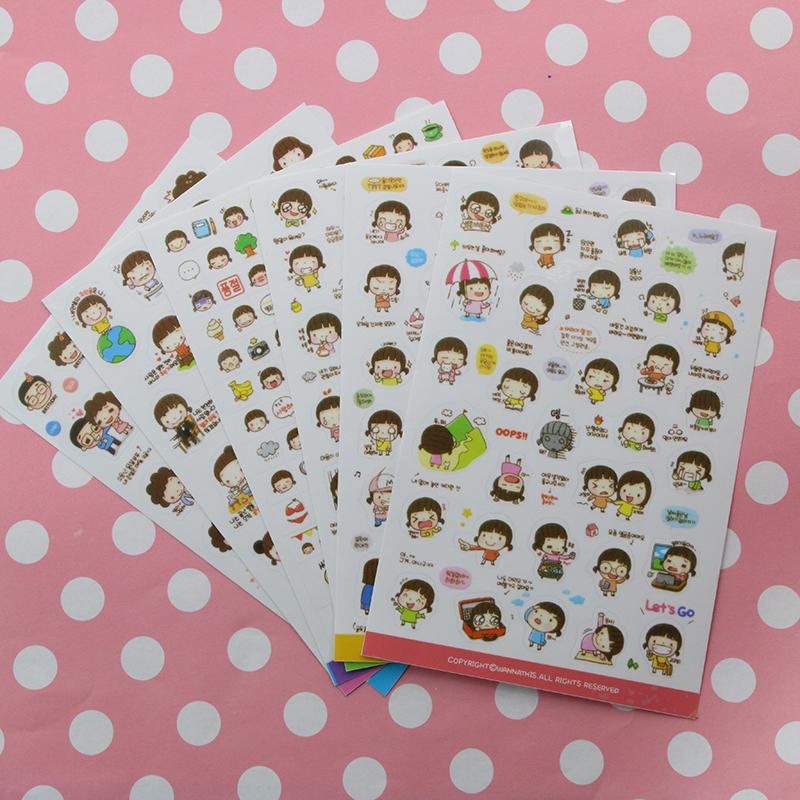 6 Pcs / Set  Korean Momoi Girl Transparent PVC DIY Stickers For Album Mobile Phone Diary Scrapbooking Decoration<br><br>Aliexpress