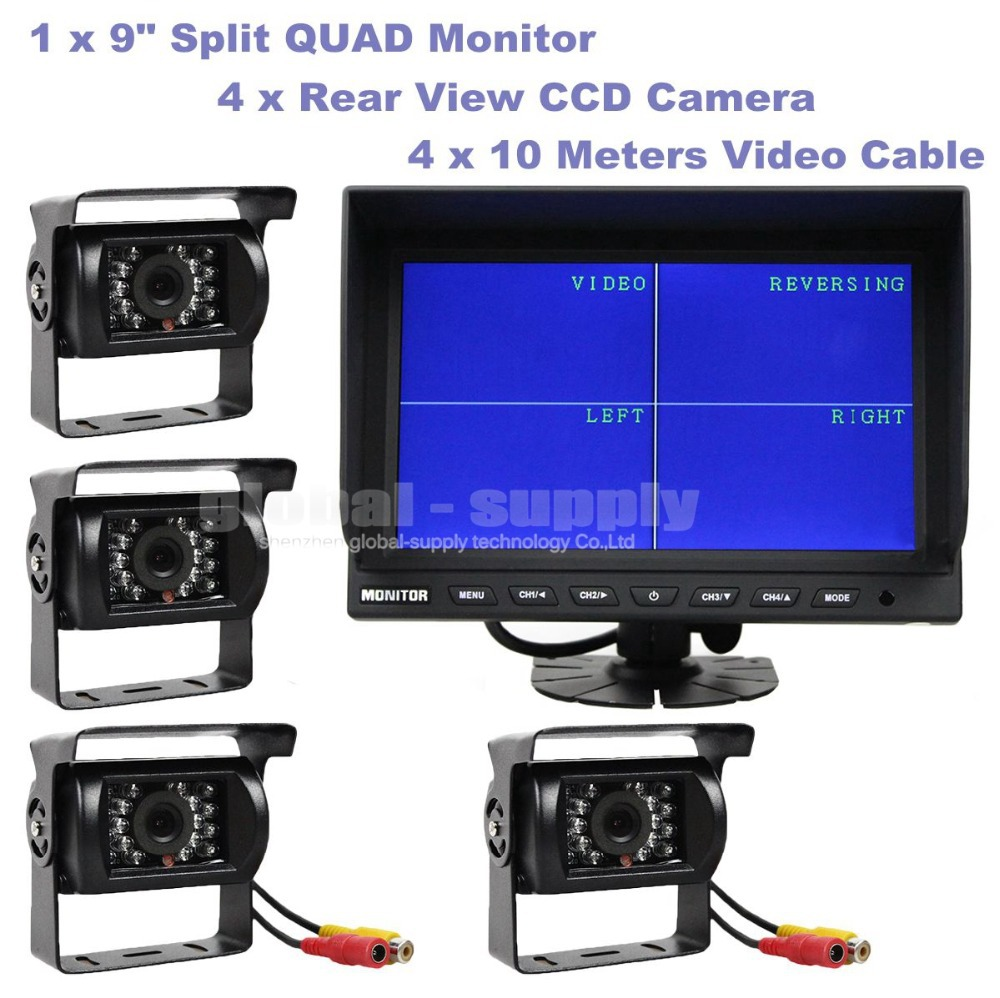 4CH 9 Inch Split Quad Display Color Rear View Monitor + 4 x CCD Rear View IR Camera for Monitoring System(China (Mainland))