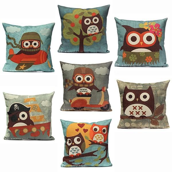 7 Patterns 18'' Cotton Linen Owl Pillow Case Home Room Cushion Pillowcase(China (Mainland))