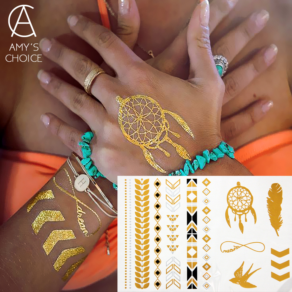 New Metallic Gold Silver Body Art Temporary Tattoo Sexy Flash Tattoos Sticker Free Shipping For Dreamcatcher Swallows Pattern(China (Mainland))