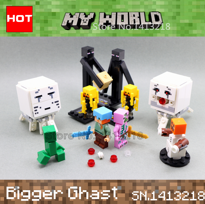 Big Ghast MY World legoelieds Alex Enderman Creeper Blaze Zombie SnowGolem minecraft  Building Blocks  Original Box Boy Toy Gift<br><br>Aliexpress