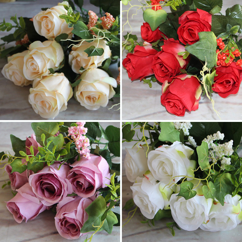 New Beautiful Pretty Artificial Fake Spring Rose Flowers Floral Wedding Home Hotel Desk Party Decor