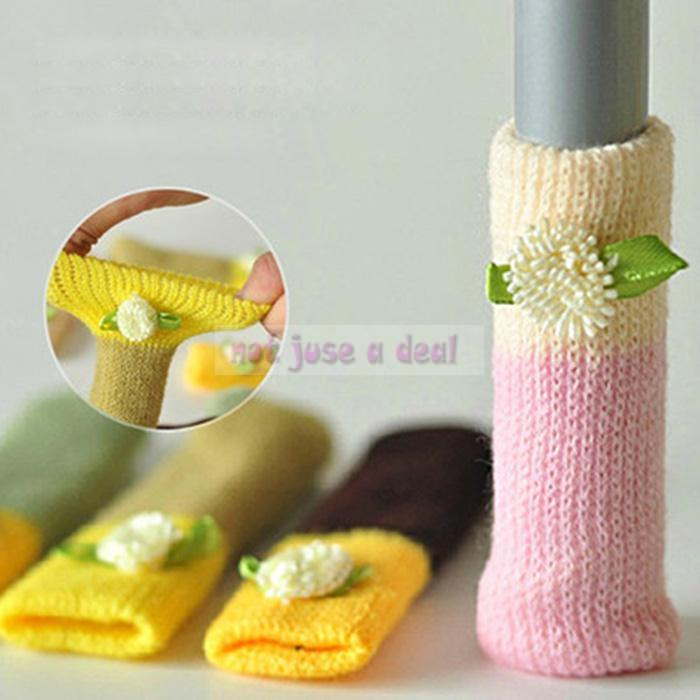 1 Set Knitting Wool Floor Chair Table Desk Legs Cover Cushion Protector(China (Mainland))