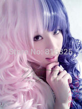 SCY FREE P&P>Japanese Anime lolita cosplay two-tone curly wig [dOng mOn] wigs(China (Mainland))