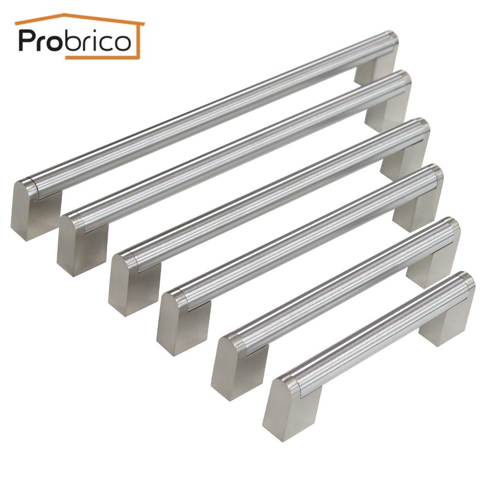 Probrico Furniture Drawer Handle Hole Center 96mm~256mm Stainless Steel Diameter 14mm Kitchen Cabinet Door Knob Cupboard Pull(China (Mainland))