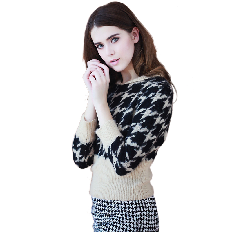 women brand quality pullovers long-sleeve short stye plaid pullover girl sweater fashion soft tops for women Cashmere sweaterОдежда и ак�е��уары<br><br><br>Aliexpress