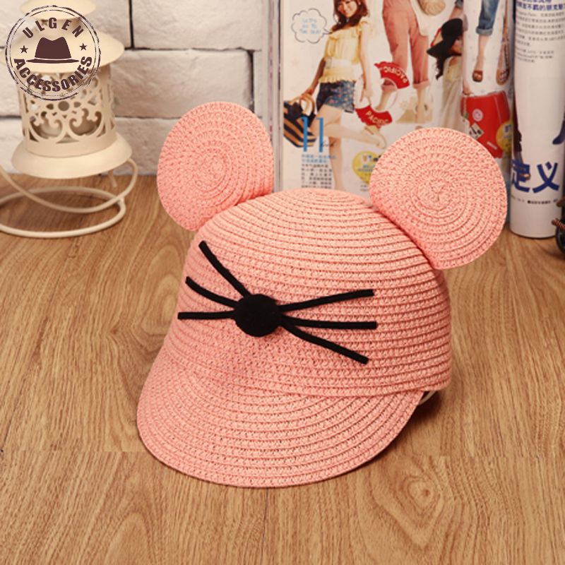 Cute mouse ear hat kids hip hop Snapback straw hat baby girls mouse hats mickeys Baseball Caps for child(China (Mainland))