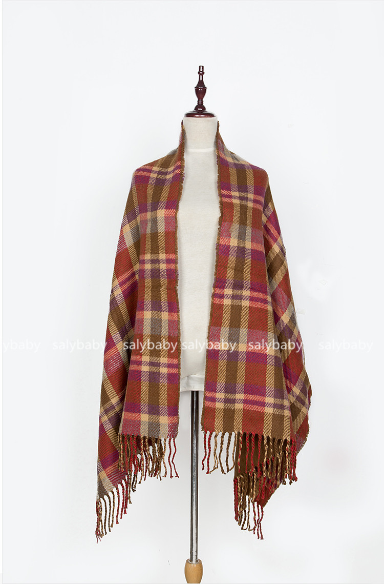 16 Female Cashmere Scarves In Autumn And Winter Warm Dual-purpose Button Towel Thickened Tzitzis Amazon Striped Cloak