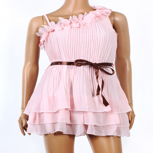 Women One Shoulder off Sweet Pleated Party Chiffon Dress#5100