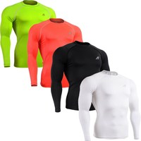 Four Colors Long Sleeves Compression Base Layer FIXGEAR Shirts Skin Tight Running Training Weight Lifting Sports Clothing XS-4XL