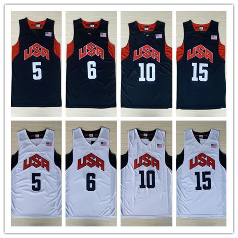Dream Team USA Basketball Jersey #10 Kobe Bryant #6 Lebron James Throwback Basketball Jersey Embroider(China (Mainland))