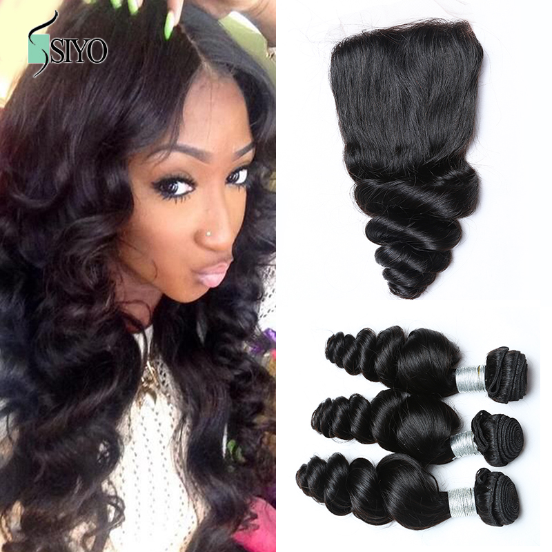 7A Unprocessed Mongolian Virgin Hair with Closure Human Hair weave with closure Mongolian Loose Wave 3 bundles with Lace Closure<br><br>Aliexpress