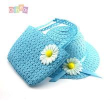 2015 Hot Sale 6 Colors Kids Girls Beach Hats Bag Flower Decorative Straw Cap Tote Handbag Suit Children Summer Sun Hat(China (Mainland))