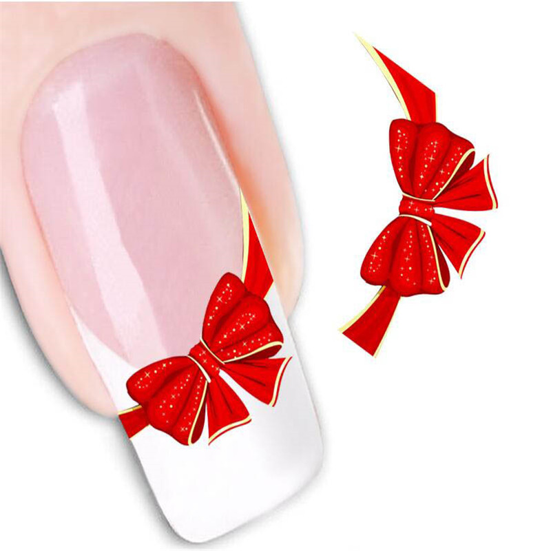 2Sheet Red Bowknot Manicure Nail Sticker DIY Decal Nail Decoration Stickers Tools Water Transfer Beauty Nail Art Tips(China (Mainland))