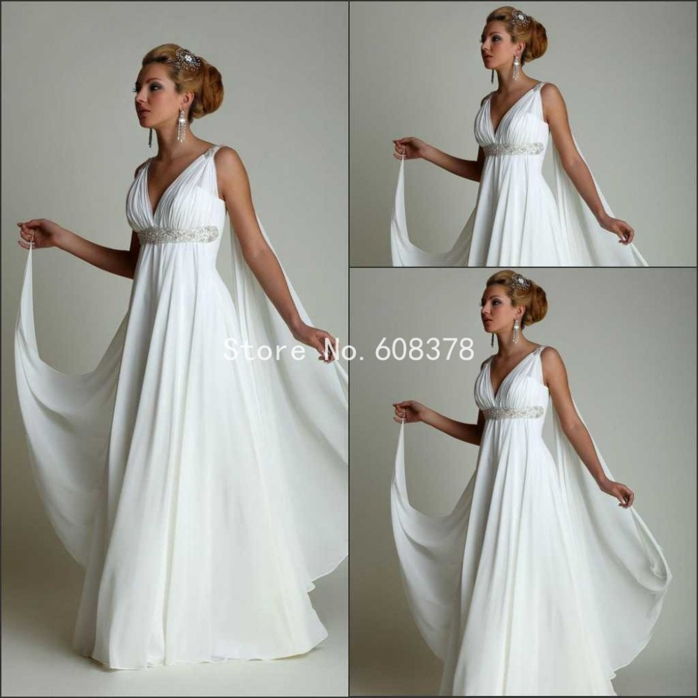 Greek style wedding dress with 2016 sexy v neck long for Greece style wedding dresses
