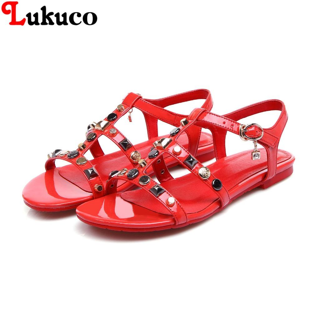 2016 Plus size 41 42 43 44 45 popular genuine leather women flats casual lady sandals open-toe Rhinestone design  -  LUKU CO., LIMITED store