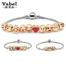 Charm Emoji Bracelet Gold Plated 10Pcs Beads DIY Jewelry fit Pandora Bracelets & Bangles for Women Men New Year Christmas Gifts(China (Mainland))
