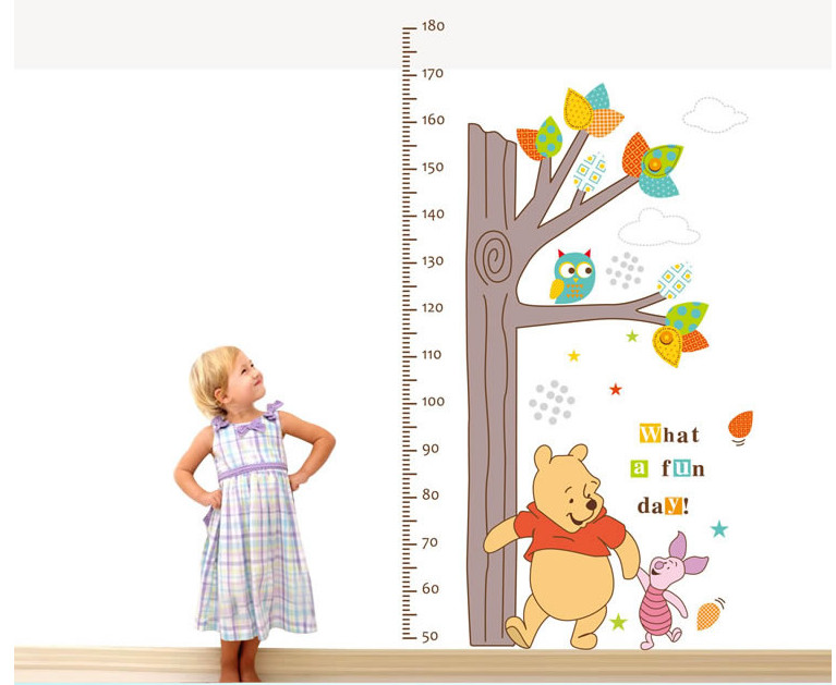 Bear decoration lovely Tree Measurement Poster Art Wall Home Decor Style decal belong Own mural,Warm home Measuring child height(China (Mainland))