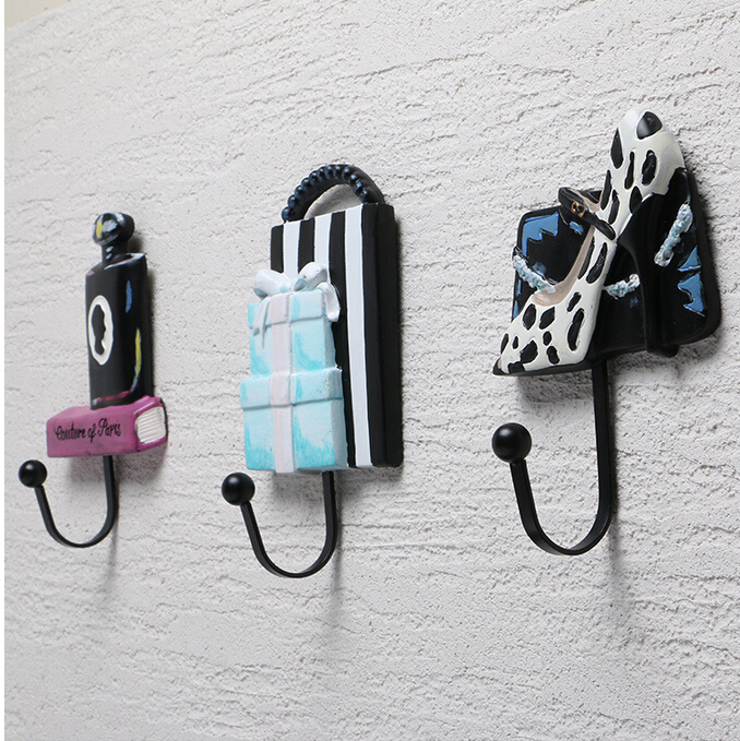 Set Creative Women's Lady Room Perfume high-Heel Shoes Present Gift Shape Design Wall Mount Hanger Hook Coat/Bag/Hat Hook Hanger(China (Mainland))