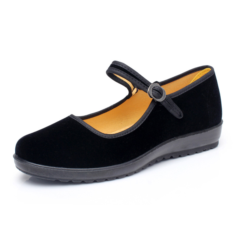 National Style Spring Autumn Flats Women Casual Flat Shoes Woman Old Beijing Cloth Black - Happy hour 100% store