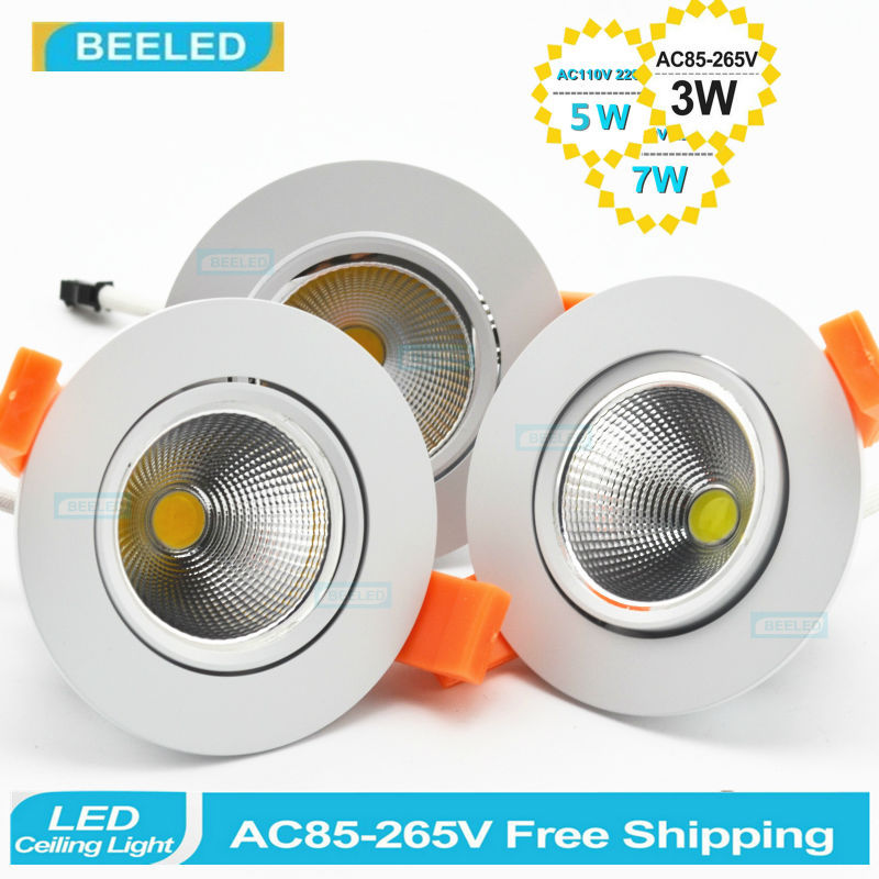 1pc 2014 Newest 3W 5W 7W LED COB chip downlight Recessed LED Ceiling light Spot Light Lamp White/ warm white led lamp epistar(China (Mainland))