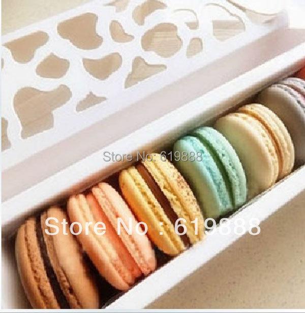 Luxury White Long Hollow Macaron Box Cupcake Container Valentine Chocolates Packing Box Baking Package(China (Mainland))
