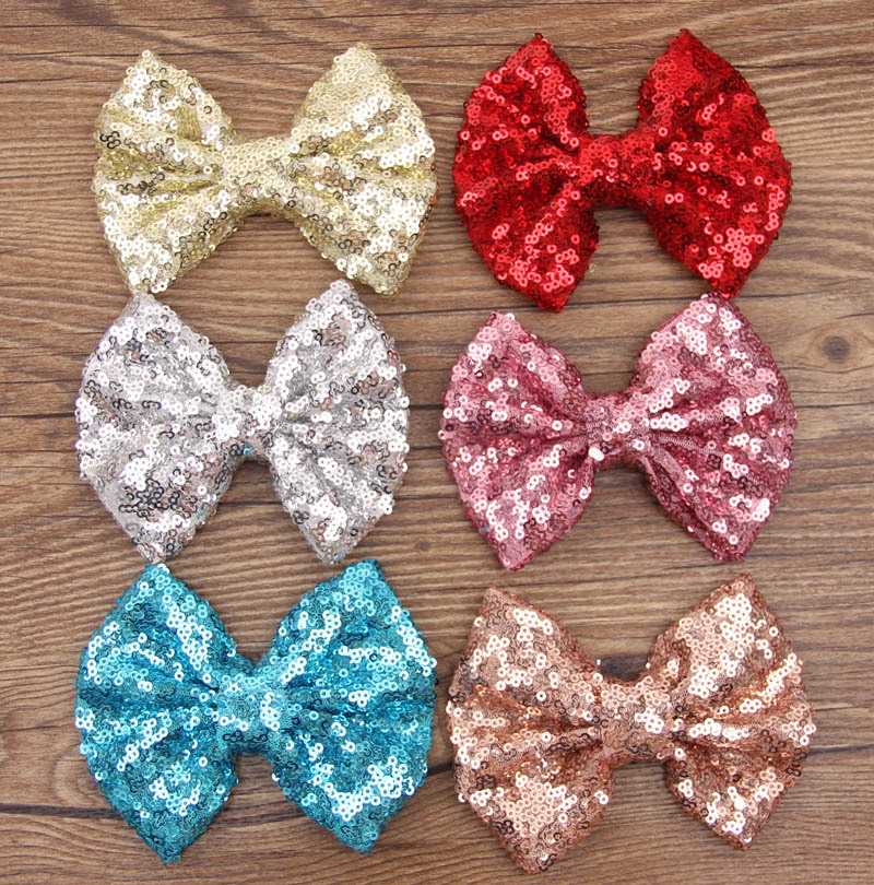 50pcs/lot Free Epacket 5'' Handmade Sequin Messy Bow without clips Big Sequin Bows For DIY Baby Headbands(China (Mainland))