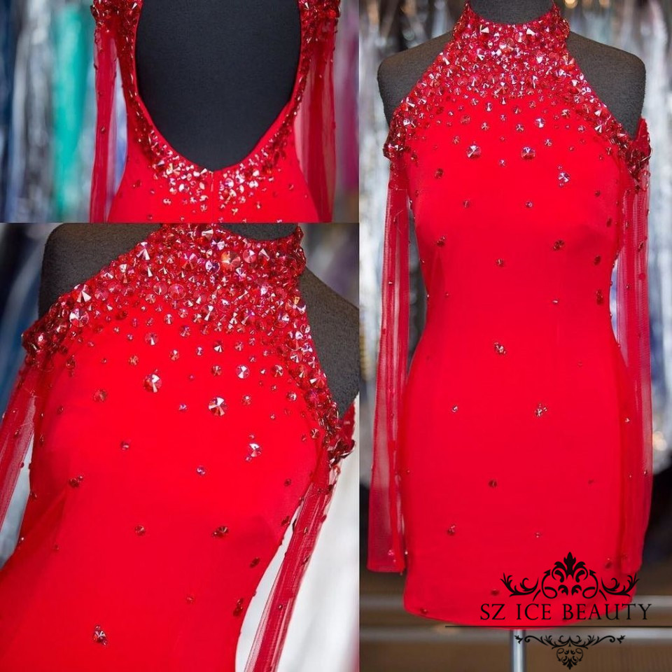 Sexy Backless Crystals Collar Red Cocktail Dresses With Sheer Long Sleeve Custom Fit Short Homecoming Prom Party Dress Gown 2016(China (Mainland))