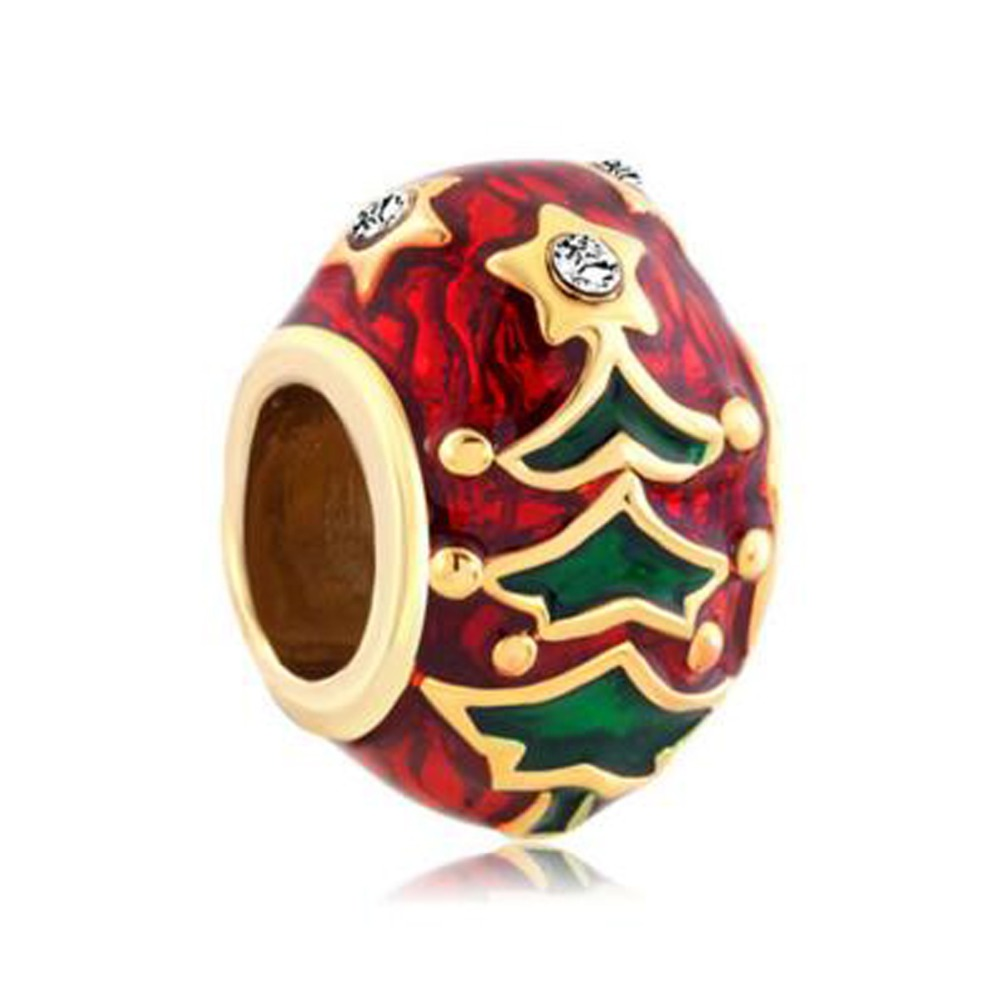Free shipping plating Gold Christmas Tree Easter Faberge Egg Charm beads fit Pandora charm bracelet(China (Mainland))