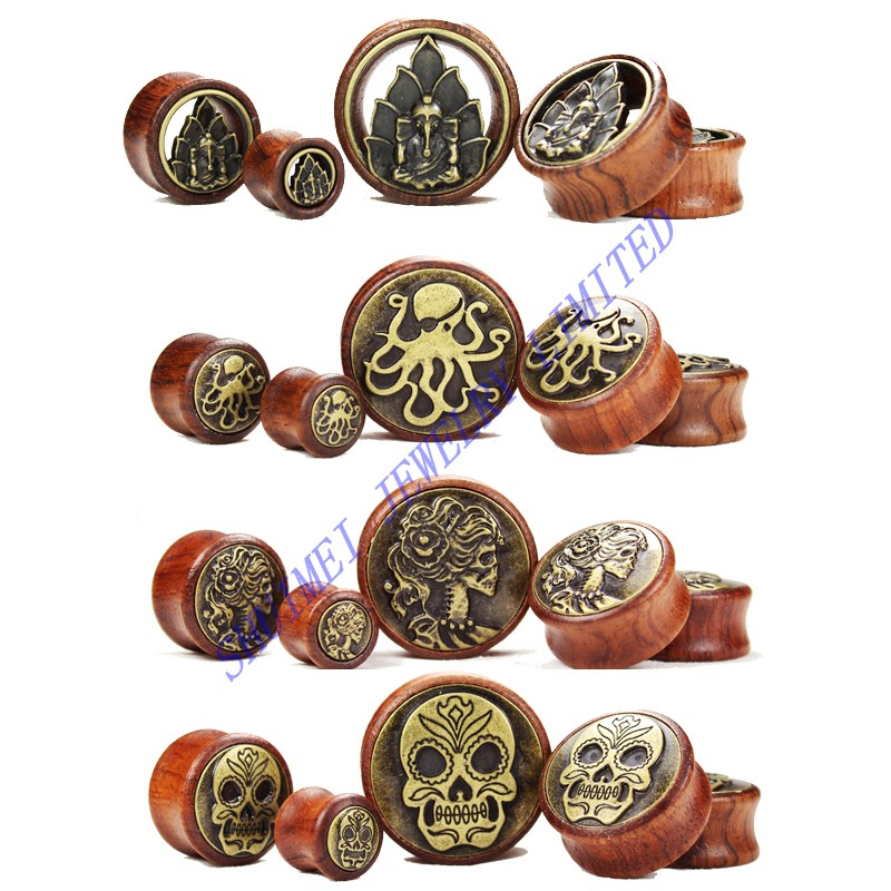 100Pcs Sugar Skull Buddha OctopusOrganic Wood Ear Flesh Saddle Plug Expander Stretcher Body Jewelry Piercing 8mm-30mm Wholesale<br>